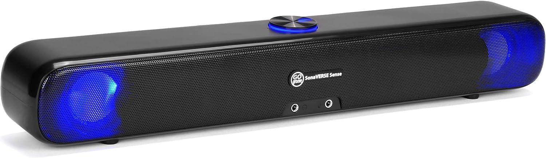 GOgroove SonaVERSE SENSE Computadora Altavoz LED Barra de Sonido - Altavoz LED alimentado por USB con ciclo de luz colorido, controladores estéreo, puertos para auriculares y micrófono