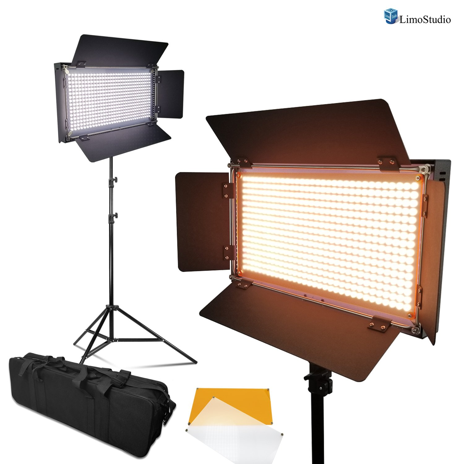 LimoStudio 2-Pack Dimmable LED Photography Photo Video Light Panel, LED Lighting Kit for Photo Video Studio, Selectable Lighting Zone Control, AGG1089V2 by LimoStudio