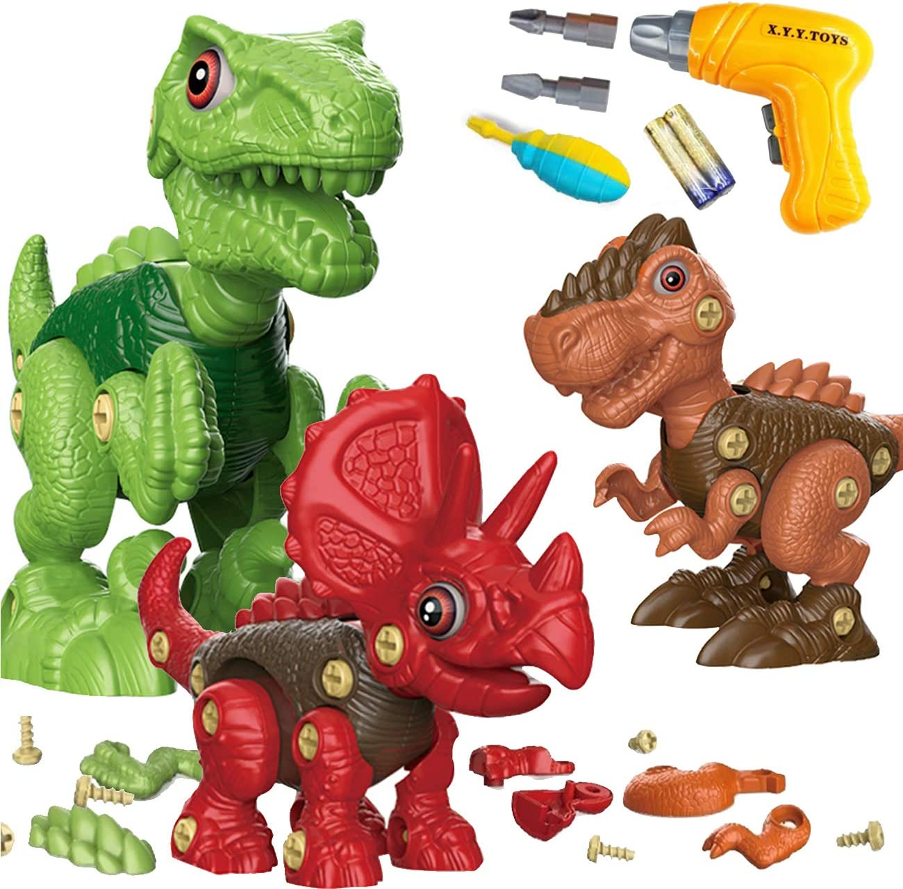 BDwing 3PCS Dinosaurios Juguetes Kit con Taladro , Juego Construccion Puzzle Dinosaurios Playmobil Incluyen Tiranosaurio Rex, Velociraptor y Triceratops Jurasic Wold Dinosaurios para Niños y Niñas