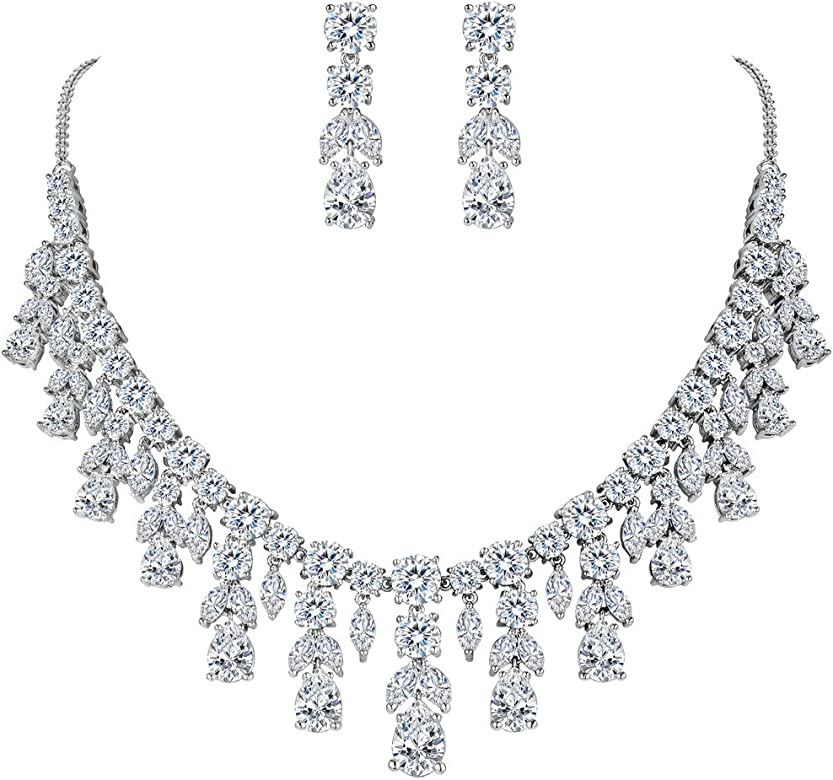 Clearine Womens Wedding Bridal Crystal Multi Leaf Cluster Statement Necklace Dangle Earrings