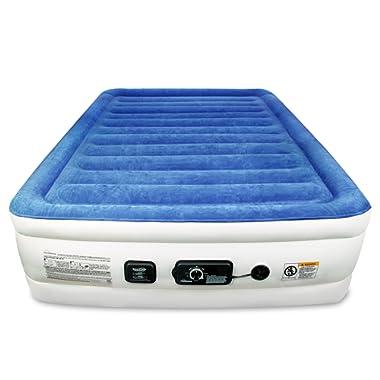 SoundAsleep Products SoundAsleep CloudNine Series Queen Air Mattress Dual Smart Pump Technology (Blue Top/Beige Body, Queen)