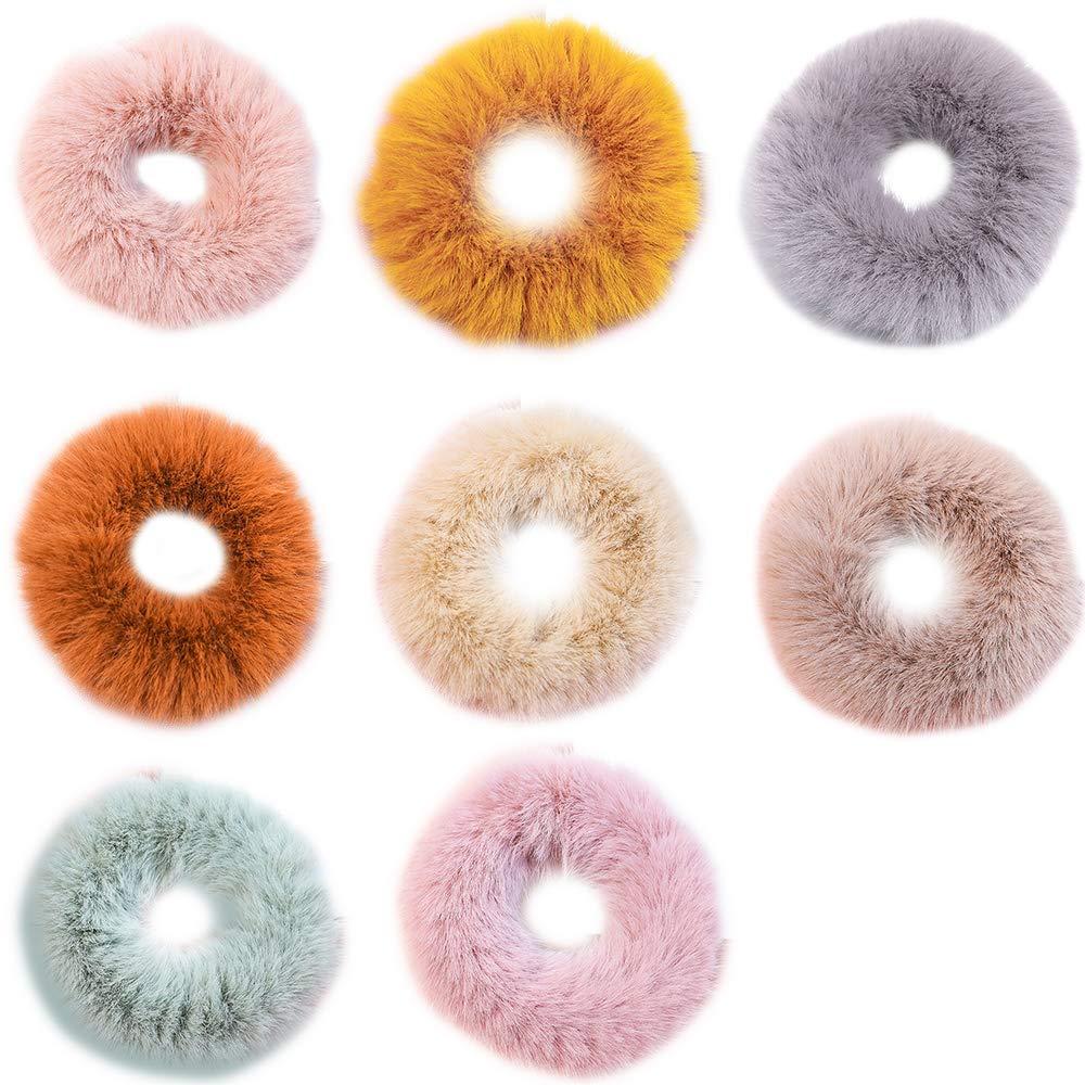 1//2PCS Fluffy Ball Elastic Hair Tie Rope Ring Ice Cream Ponytail Holder for Girl