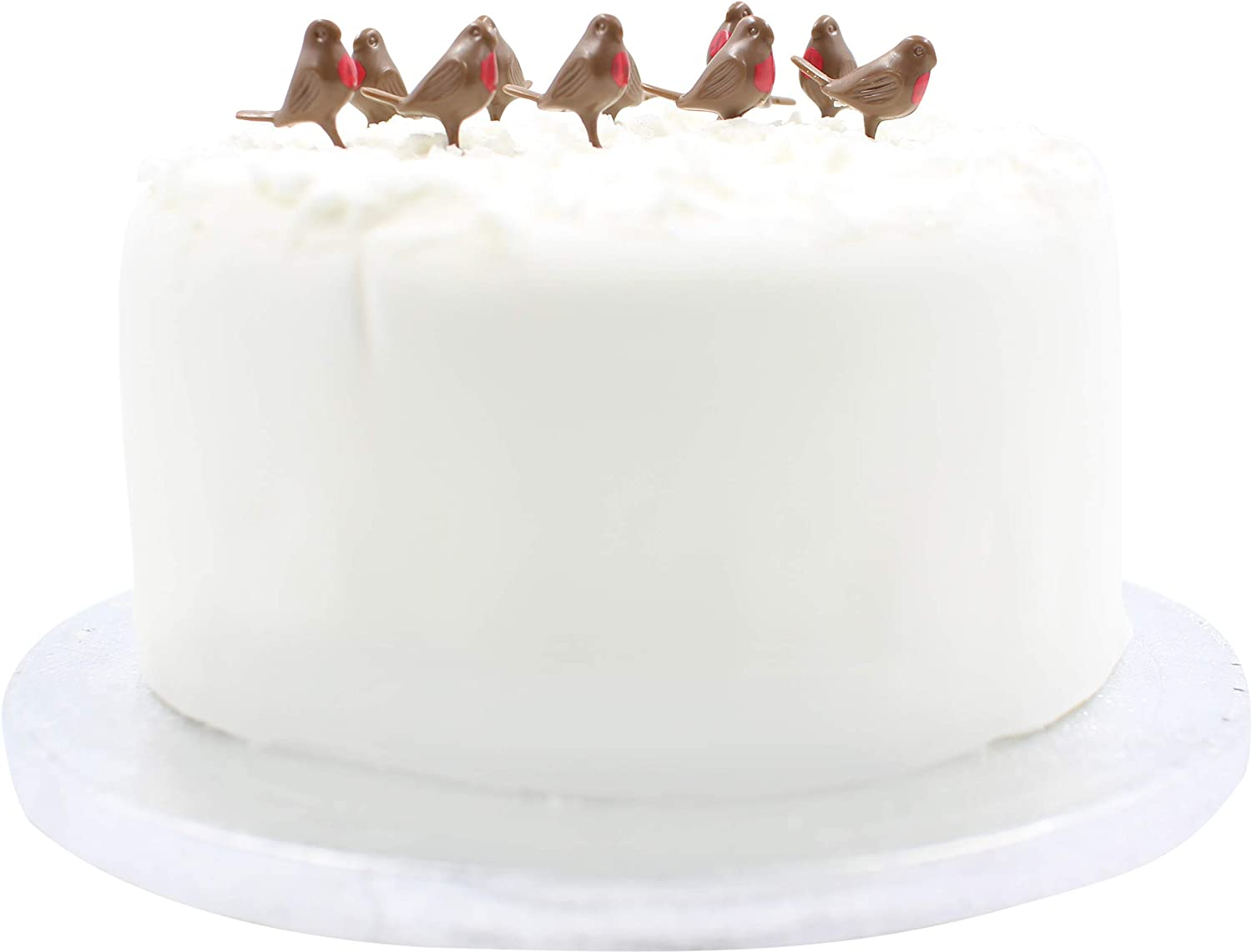 Robbin Christmas Cake Toppers red Decorations Yule Log Cupcake Muffin 10 x Robins Toppers