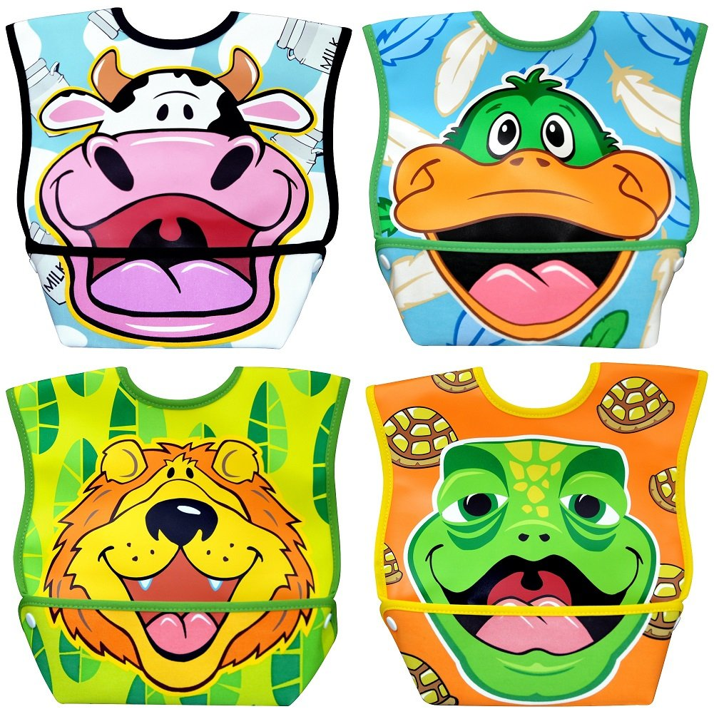 Dex Baby Dura-bib Big Mouth- 4 Pack (Cow, Duck, Lion, Turtle) 6-24 Months DBBML
