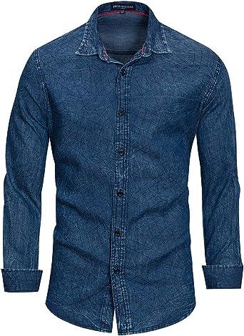 Camisas para Hombres Moda Clásico Botón Ajustado Delgado ...