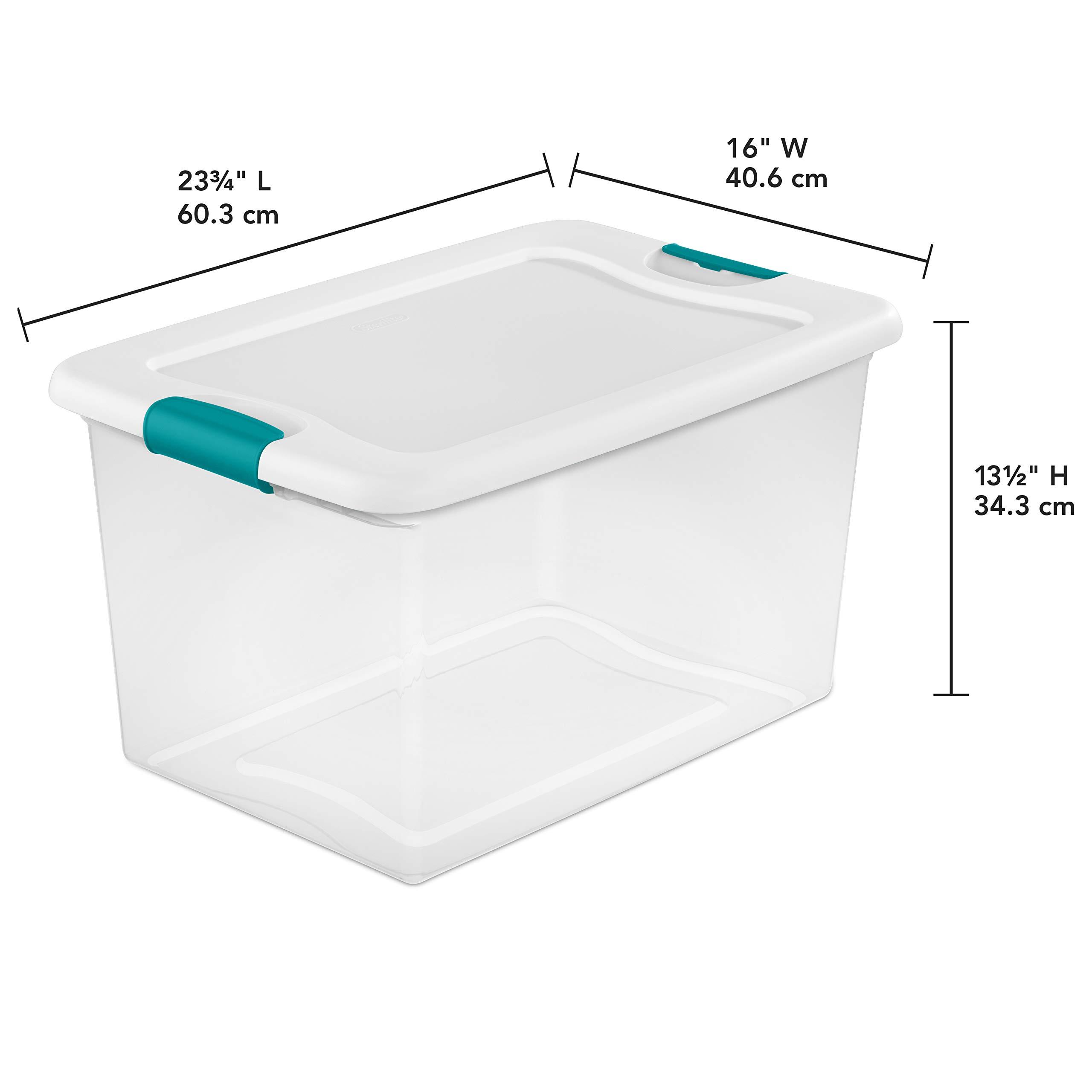 Sterilite 64 Quart Latching Plastic Storage Box, Clear w/Blue Latches (12 Pack) by STERILITE