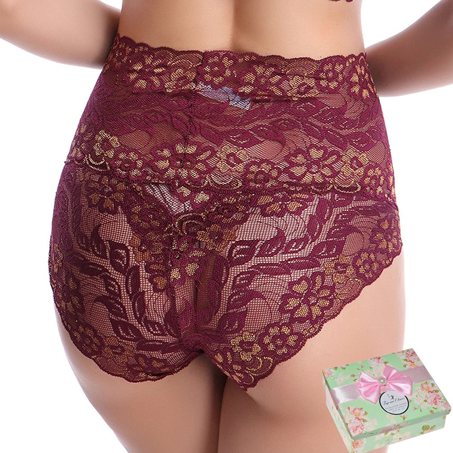 Toponechoice Women鈥檚 High Waist Lace Panties Comfortable Underwear with High Elastic
