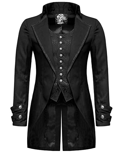 d09d59a6fdc8 Punk Rave Mens Gothic Morning Jacket Tailcoat Black Steampunk Victorian  Wedding: Amazon.co.uk: Clothing