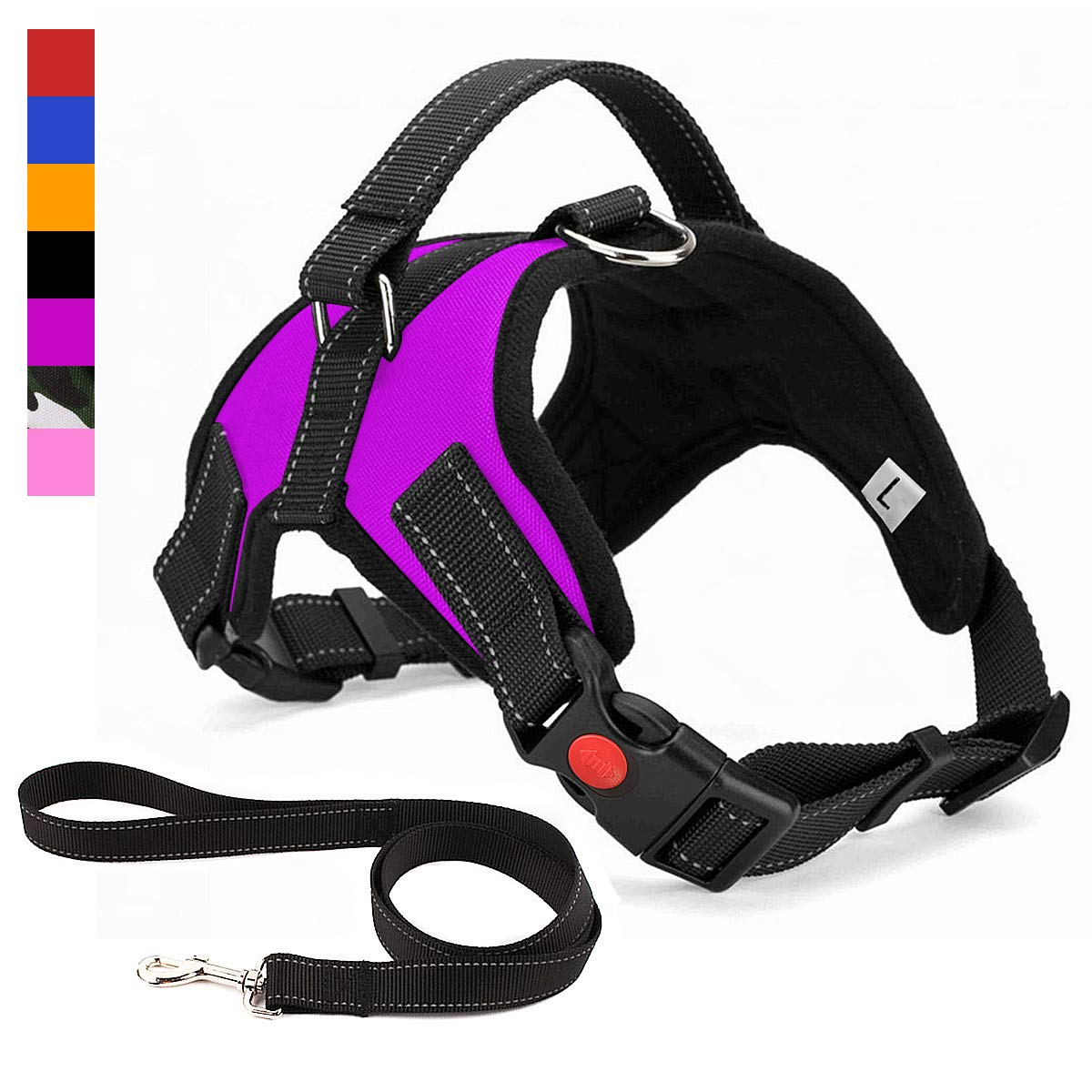 Musonic No Pull Dog Harness, Breathable Adjustable Comfort, Free Leash Included, for Small Medium Large Dog, Best for Training Walking Purple