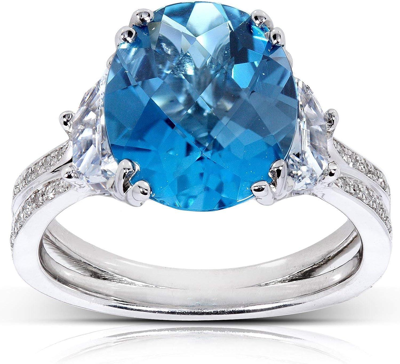 Vintage Art Deco Engagement Sapphire Ring 14K White Gold Over 2.7Ct Diamond Ring
