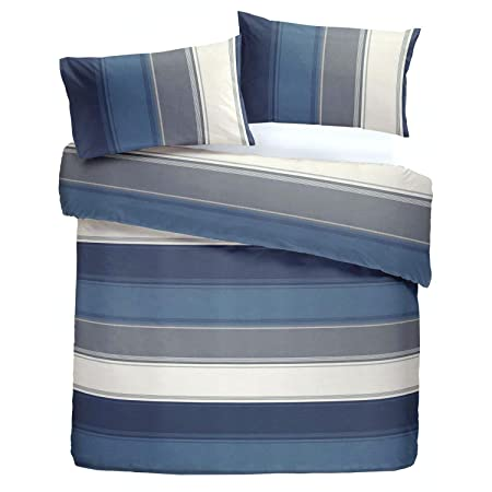 2720f12cb73e Fusion Betley Reversible Duvet Cover Set, Blue, Single: Amazon.co.uk ...