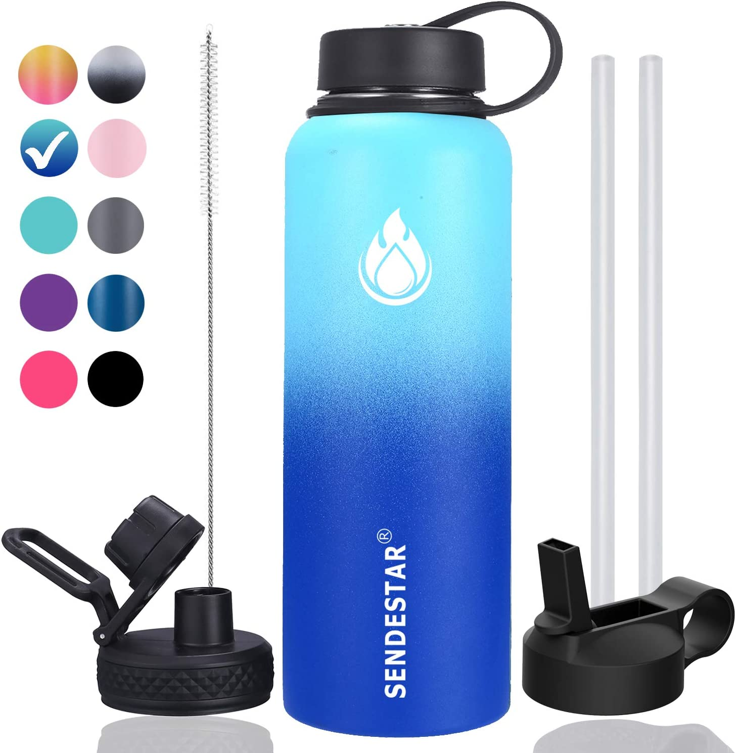 SENDESTAR 32 oz or 40 oz Double Wall Vacuum Insulated Leak Proof Stainless Steel Sports Water Bottle —Wide Mouth with Straw Lid & Flex Cap & Spout Lid (40 oz, Ocean)