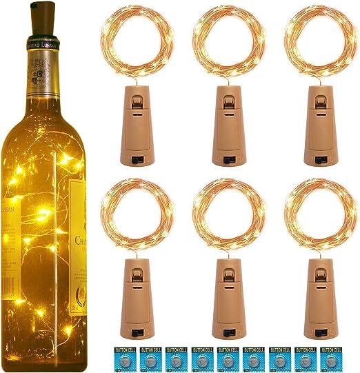 kolpop 3m 30 LED Luces Botella (6 Pack), Luces LED a Pilas Decorativas Flexible de Alambre de Cobre Luz para Entorno Romántico en Boda, Fiestas, Cumpleaños, Navidad, Halloween (Interior/Exterior): Amazon.es: Iluminación