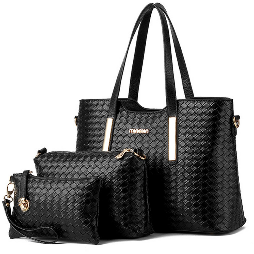b3b1155502f4 Amazon.com: Vincico Women 3 Piece Tote Bag Pu Leather Weave Handbag  Shoulder Purse Bags: Shoes