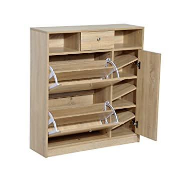 HomCom Shoe Cabinet   Pull Out Door U0026 Drawer Organizer Closet   White Oak