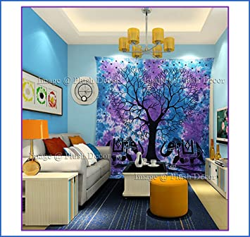 Large Blue Tapestry Tie dye Purple Tapestries Hippie Indian Elephant Tree  Wall hanging Traditional Hippy Beach. Amazon com  Large Blue Tapestry Tie dye Purple Tapestries Hippie
