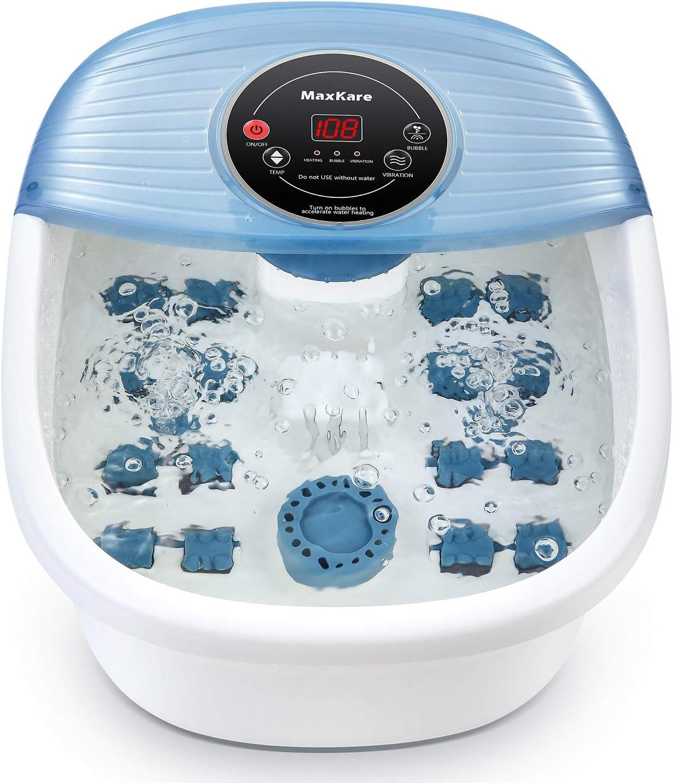Bañera Para Pies Masajeador de Pies con Calefacción y Vibración, Hidromasaje Pies con 16 Masajea Rodillo, Masaje Burbujas, Spa para Pies Aliviar los Dolores de los Pies