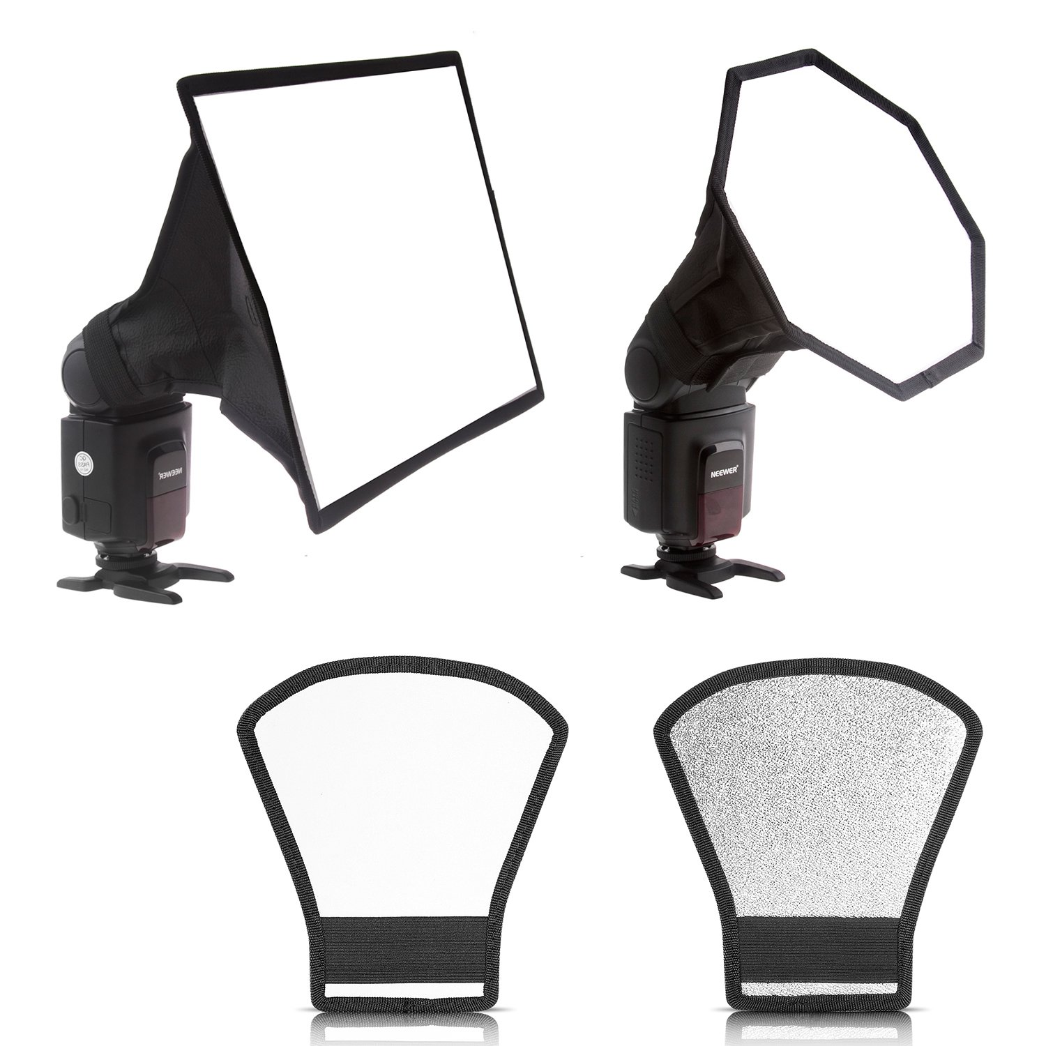 Neewer 8'' x 12''/20 x 30cm Square Softbox,8'' x 8''/20x20cm Octagon Softbox and Two-sides Silver/White Reflector for Canon 430EX II,580EX II,600EX-RT,Nikon SB600 SB800 SB900,Neewer TT520,TT560 by Neewer