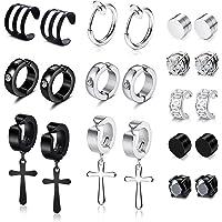 YADOCA 11 Pairs Non-piercing Cross Dangle Hoop Earrings Magnetic Stud Earrings Unisex Fake Ear Hoop Cuff Helix Clip on…