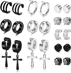 YADOCA 11 Pairs Non-piercing Cross Dangle Hoop Earrings Magnetic Stud Earrings Unisex Ear Hoop Cuff Helix Clip on Cartilage No Piercing Stainless Steel