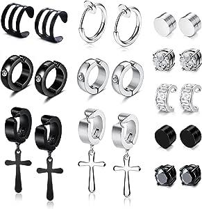 YADOCA 11 Pairs Non-piercing Cross Dangle Hoop Earrings Magnetic Stud Earrings Unisex Fake Ear Hoop Cuff Helix Clip on Cartilage No Piercing Stainless Steel