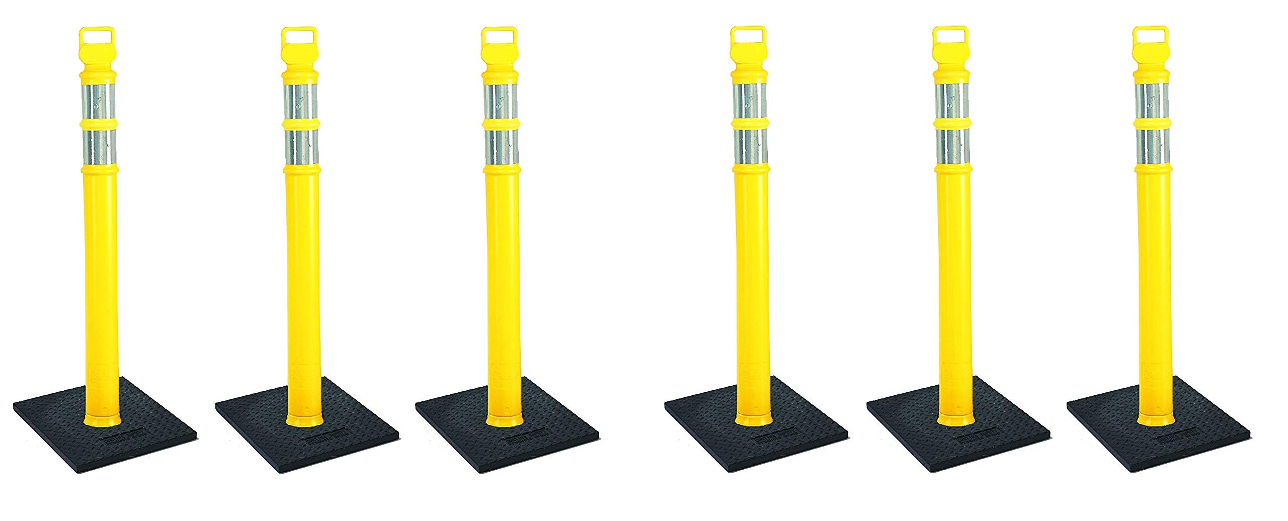 Cortina EZ Grab Delineator 45'' Post, 3'' Hip Collars with 10 lb Base, 03-747YRBC-3, Yellow, 3 Pack (2 X Pack of 3) by Cortina (Image #1)