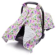 ICOSY Carseat Canopy Cover Floral   Soft Infant Nursing Cover with Peekaboo Opening Baby Stroller Cotton Cover   Best Baby Shower Gift for Breastfeeding Moms