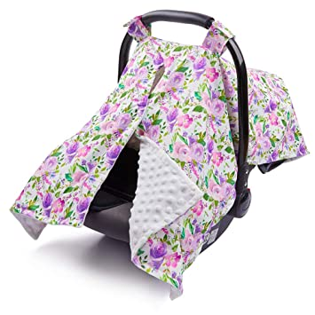 MHJY Carseat Canopy Cover Nursing Cover Cotton Breathable Carseat Cover Breastfeeding Cover for Boy Girl Baby Shower Gift for Breastfeeding Moms Feather