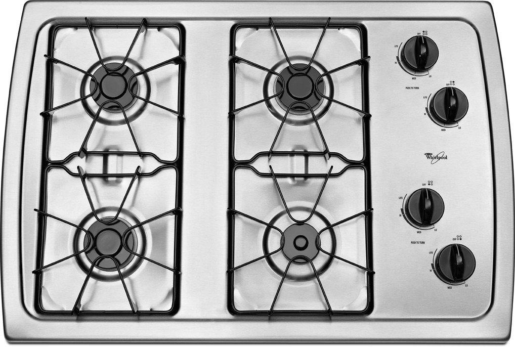Whirlpool W3CG3014XS 30' Stainless Steel Gas Sealed Burner Cooktop