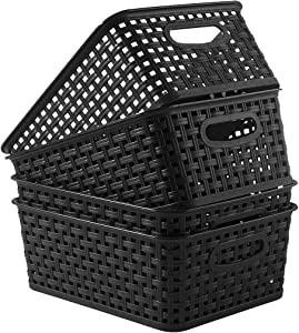 YXB Plastic Storage Basket - 4 Packs Weaving Plastic Baskets Bins Organizer with Handles Black Storage Trays Baskets for Home Kitchen Office