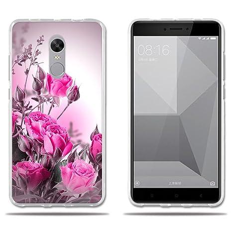FUBAODA Funda Xiaomi Redmi Note 4X Carcasa Ultra Fino de Cristal Claro,Dibujo Rosa Fantasía Rojo Claro, Duradera,[ [Protección Goma Carcasas para ...