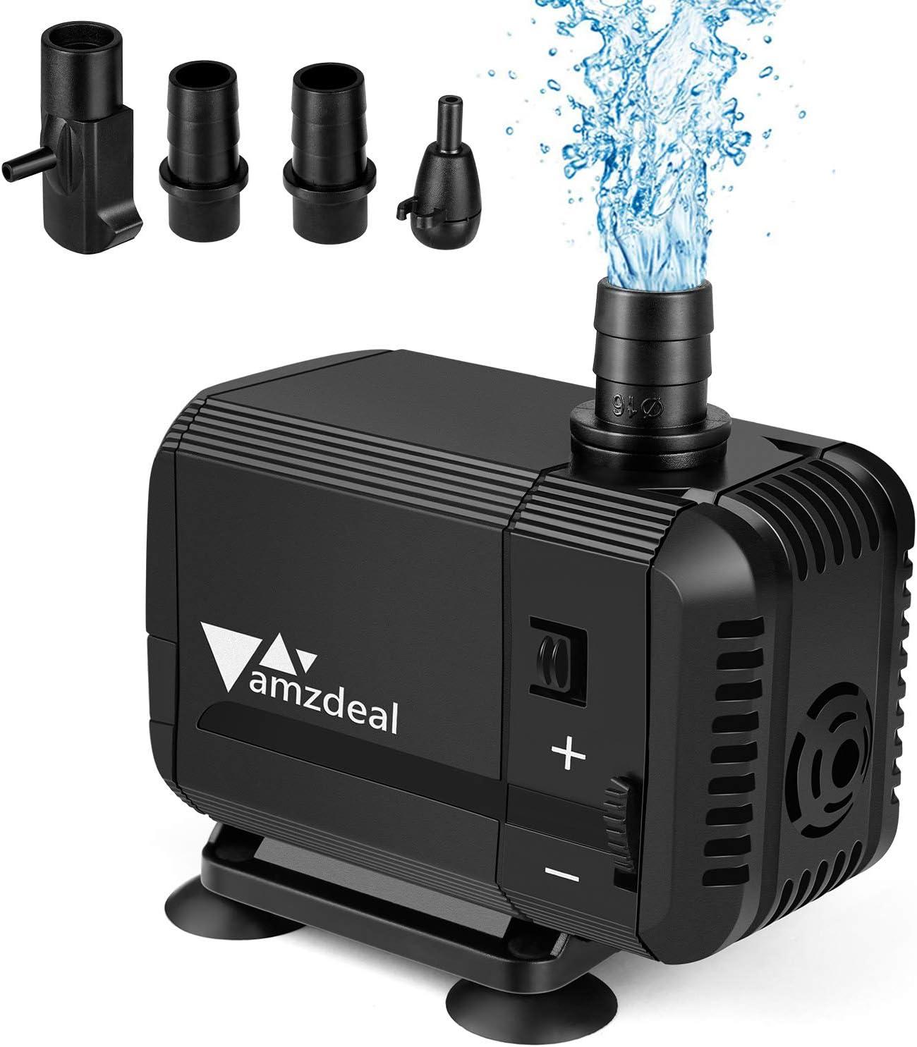 amzdeal Bomba Sumergible 1500L/H 15W, Bomba de Agua Ultra Silenciosa para Pecera Acuario Jardín Estanque Fuente