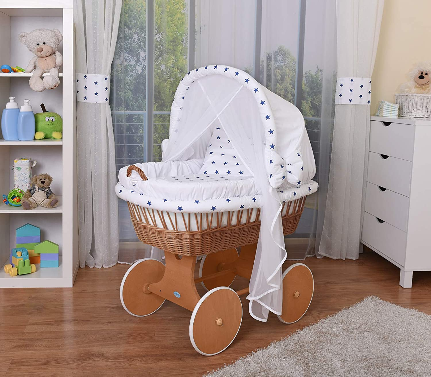WALDIN Baby Wicker Cradle, Moses Basket, 44 Models Available, Grey Painted Stand/Wheels, Textile Colour White