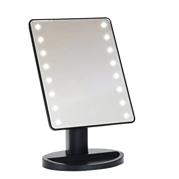 mirror makeup. led lighted vanity/makeup desktop mirror (black) makeup t