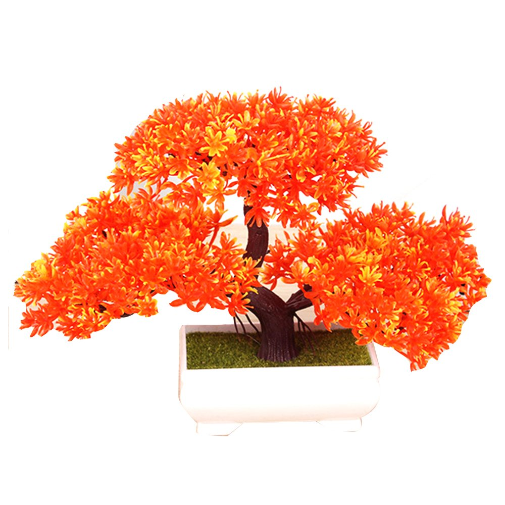 Albero di bonsai da 180 millimetri nella decorazione della pianta artificiale della pentola per ufficio//casa arancione