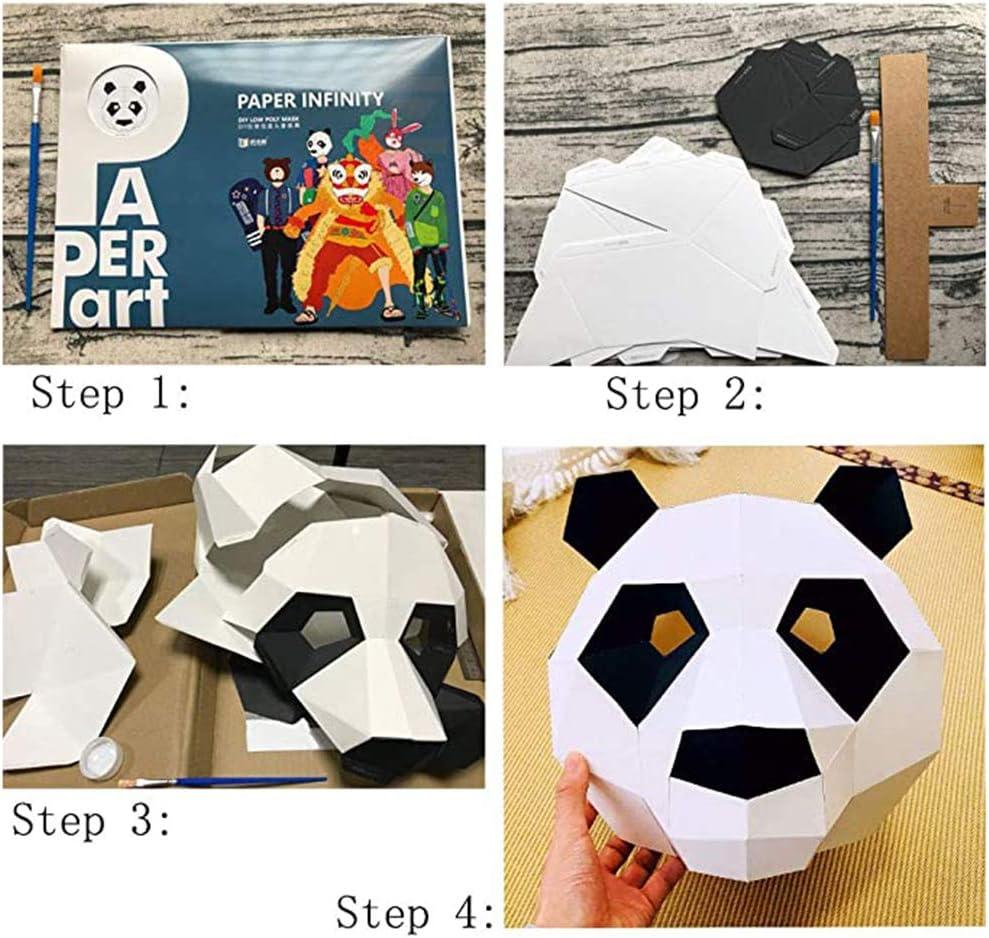 Kenyaw Maschera di Carta Panda Maschera di Testa di Panda di Animali di Halloween in Maschera di Panda