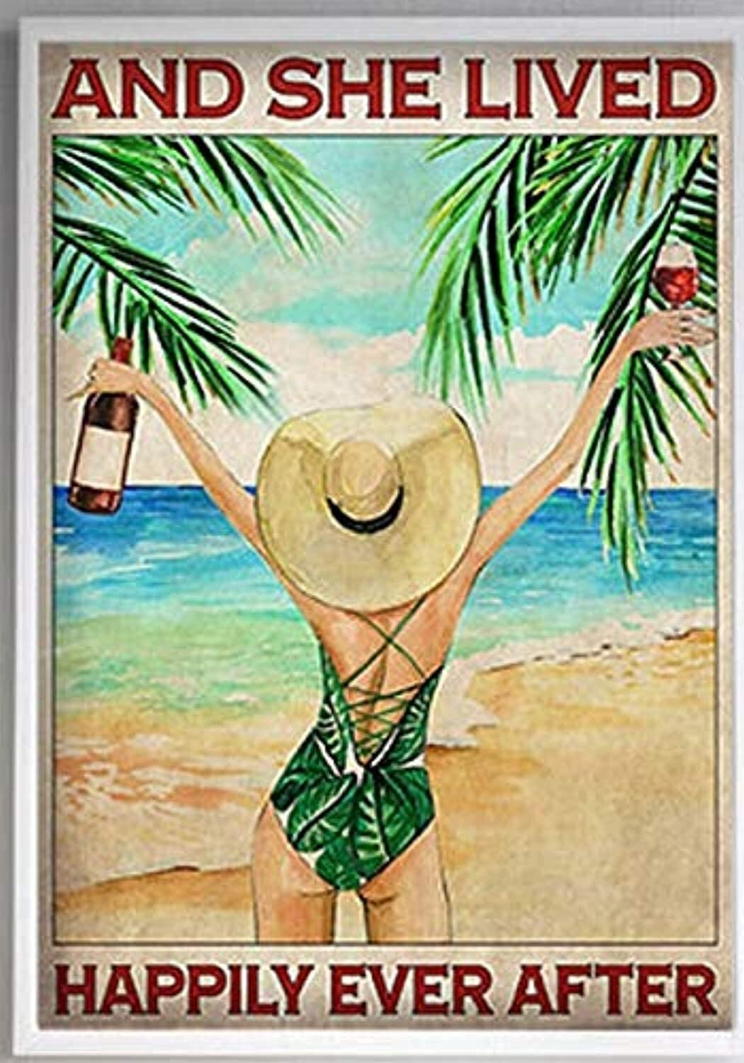 Beach Wine Summer and She Lived Happily Ever After Canvas Home Wall Art Canvas 0.75 Inch, Home Decor (Size 8x12, 12x18, 16x24, 24x36 Inches)