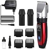 GHB Cortapelos Electrónico Maquinilla Cortar Pelo Ajustable con 4 Peines Color Rojo Adecuado para Barba y Bigote