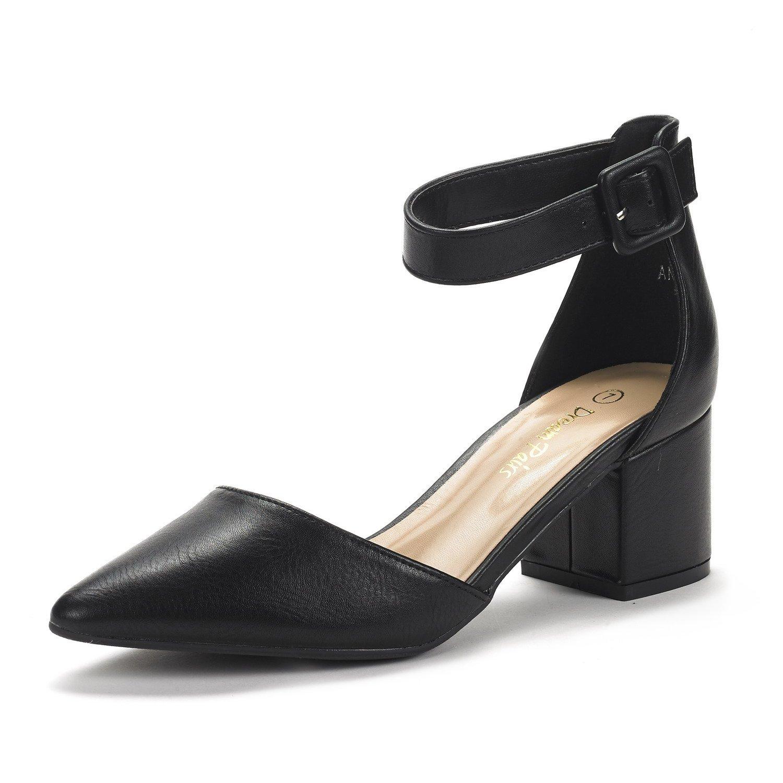 DREAM PAIRS Women's Annee Black Pu Low Heel Pump Shoes - 8.5 M US