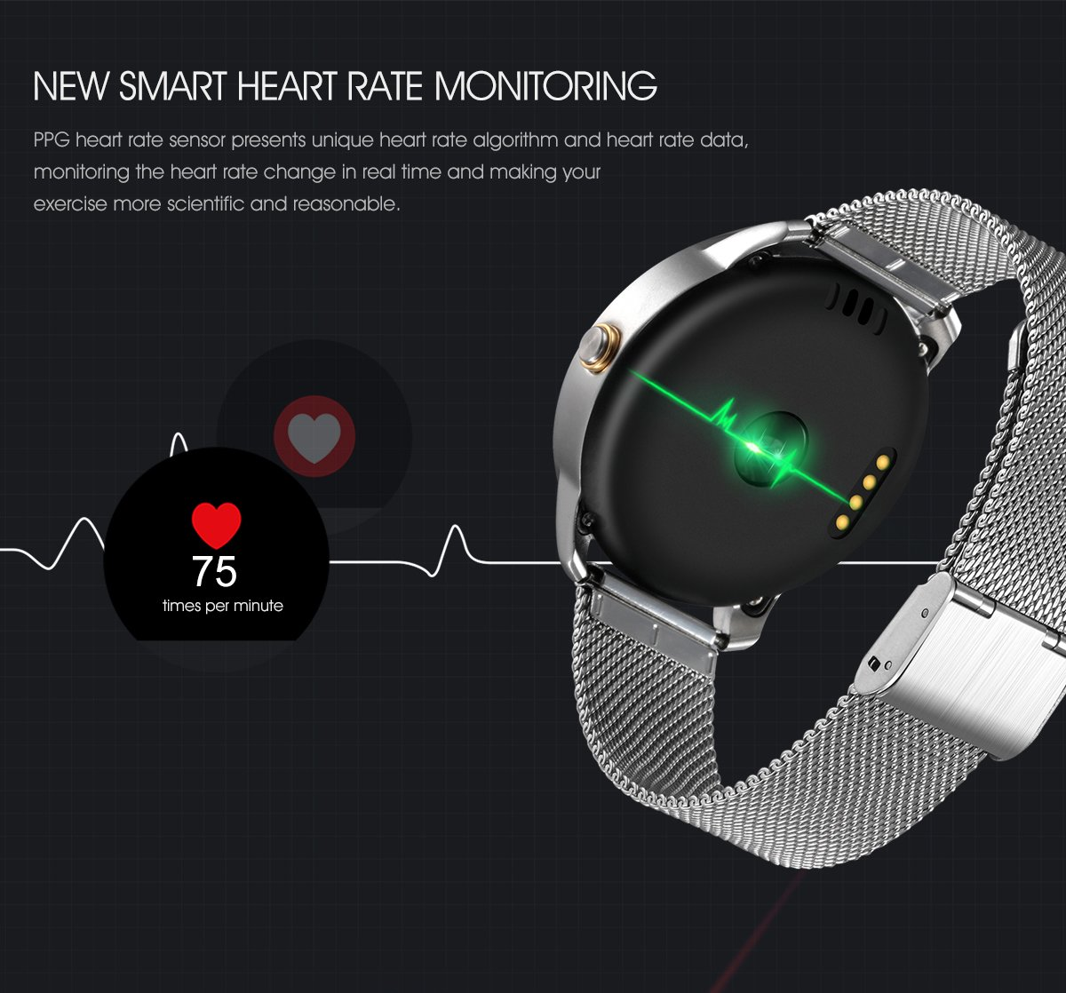 Amazon.com: SZDLDT New arrival Smart Watch Fitness Round Heart Rate monitor Bluetooth smartwatch reloj inteligente electronic wrist watches (Black): Cell ...