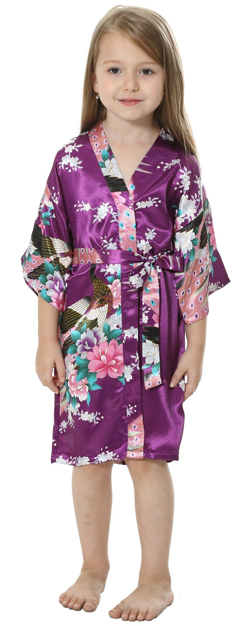JOYTTON Girls' Satin Kimono Robe for Spa Party Wedding Birthday (14,Dark Purple)