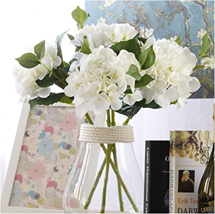 Famibay Artificial Flowers 3 Big Silk Hydrangea Heads Fake Flower For Decoration Faux Flower Bouquet Wedding Flower White Amazon Co Uk Kitchen Home