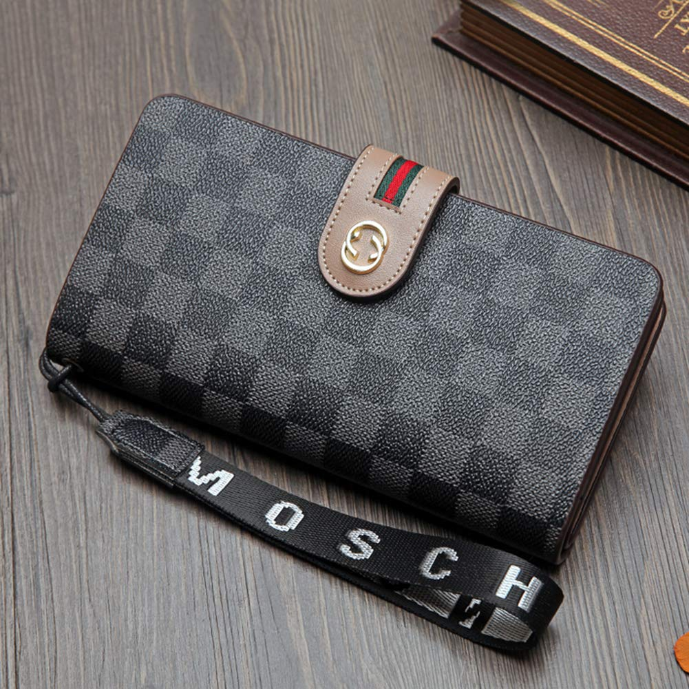 Women Wallet Leather Long Credit Card Holder Large Capacity Money Clip Purse for Lady GR-coffee