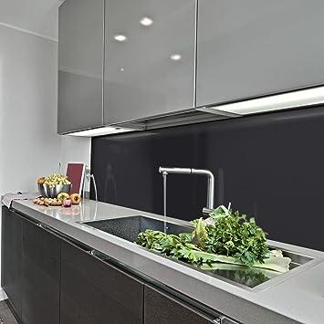 KeraBad Küchenrückwand Küchenspiegel Wandverkleidung Fliesenverkleidung  Fliesenspiegel aus Aluverbund Küche Schwarz glanz/matt 60x280cm