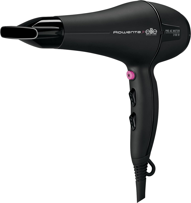 Rowenta CV7812 2100W Negro secador - Secador de pelo (Negro, Con agujero en la empuñadura para colgar, 1,8 m, 2100 W, 220-240)