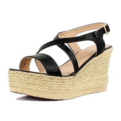 c3c93b69ad5 Women's Espadrille Platform Wedge Sandal Crisscross Strappy Slingback Dress  Summer Shoes