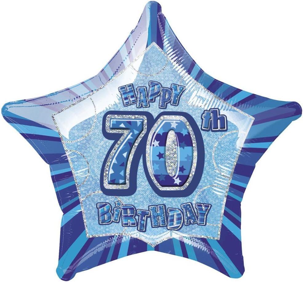 20 Foil Glitz Blue Star 70th Birthday Balloon