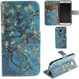 Ooboom® Samsung Galaxy S7 Case PU Leather Flip Cover Wallet Stand with Credit Card Slots Cash Holder Pouch Magnetic Clasp for Samsung Galaxy S7 - Flower