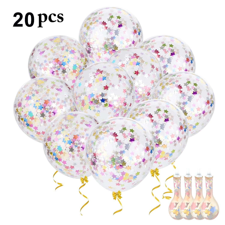 Pack de 20 globos transparentes rellenos de confeti de colores.