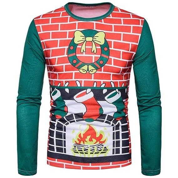 Resplend Hombres Otoño Invierno Xmas Christmas Printing Top Blusa de Manga Larga de la Camiseta de los Hombres: Amazon.es: Ropa y accesorios